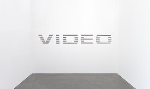 Glen Fogel, Video, 2013, Smoke plexi, red mirrored plexi, and magnets, 125 x 14 1/4 in., Courtesy the Artist and Callicoon Fine Arts, New York, NY