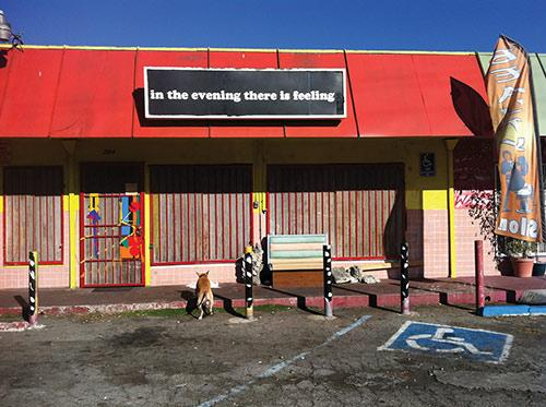Eve Fowler, In The Evening There is Feeling, 2012, sign at The Night Gallery, Los Angeles, CA, Courtesy the Artist