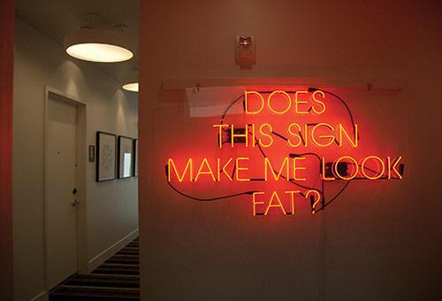 Alejandro Diaz, <em>Does This Sign Make Me Look Fat?</em>, 2009, Neon, 30 x 54 in., Courtesy the Artist and Nye + Brown, Los Angeles, CA