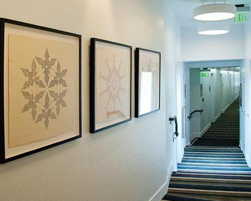 James Van Arsdale, <em>Spinning Star</em>, <em>Spinning Mine</em>, and <em>Spinning Bomb</em>, 2011, Ink on buff paper, 27 x 27 in. each, Courtesy the Artist