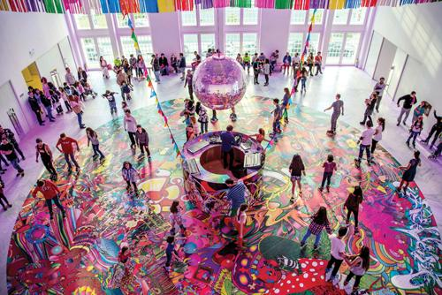 assume vivid astro focus, <em>àngeles veloces arcanos fugaces</em>, 2014, Roller disco installation at Faena Art Center, Buenos Aires, Argentina, Courtesy the Artist. Photo: Carolina Bonfanti