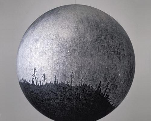 Russell Crotty, <em>Milky Way Over Ponderosas</em>, 2001, Ink on paper mounted on lucite, 36 in. diameter, Courtesy the Artist