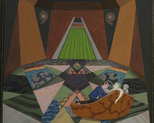 Christopher Ulivo, <em>Space Den Love-In</em>, 2011, Egg tempera on panel, 20 x 16 in., Courtesy the Artist