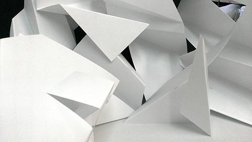 M. Helsenrott Hochhauser, <em>Shapes in Space</em>, 2013, Plastic, 7 ft. x 36 ft. x 28 in., Courtesy the Artist