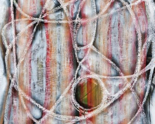 Julia Hickey, <em>Orbit</em>, 2012, Oil, charcoal, spray paint and oil stick on canvas, 44 x 41 in., Courtesy the Artist