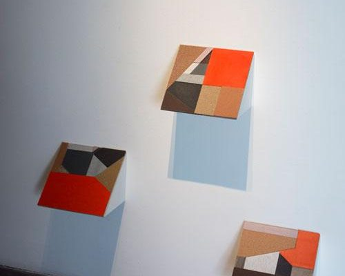 Zack Paul, <em>Information Display #1-3</em>, 2013, Sandpaper, vinyl, and glue on cardboard and wood, 12 x 12 x 12 in. Photo: Wayne McCall