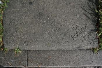 Mario Ybarra Jr., <em>Family Tree Graffiti</em> (source image), 2005, Writing in concrete, Dimensions variable, Courtesy the Artist and Honor Fraser Gallery, Los Angeles, CA