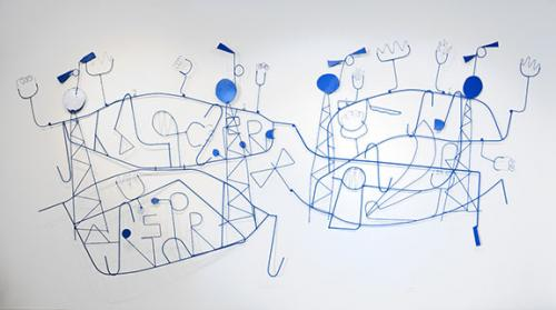 Nathan Carter, <em>Calling Four Towers Signal Drifting with No Fixed Purpose</em>, 2008, Foam, resin, steel, and acrylic paint, 95 in. x 9 ft. x 3 in., Courtesy the Collection of Paul Urla and Becky Lenaburg, Seattle, WA. Photo: Wayne McCall