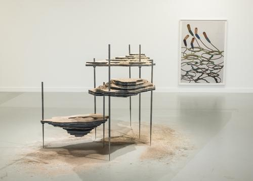 Otobong Nkanga, <em>Solid Maneuvers</em>, 2015, Various metals, Forex, acrylic, tar, salt, make-up, vermiculite, Courtesy the Artist