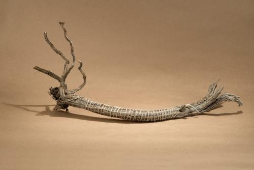 Ro Snell, Sorry, 2012, Sage root and hemp, 9 1/2 x 20 x 5 in., Courtesy the Artist. Photo: Wayne McCall