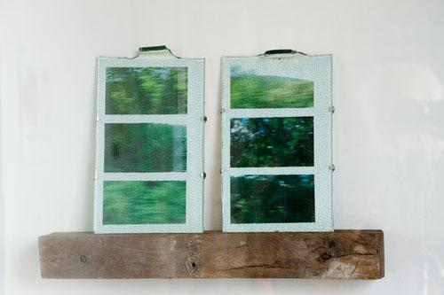 Ro Snell, <em>Frosted</em>, 2011, Glass tile, ink jet print, found wood, 14 in. x 19 ½ in. x 4 in. Photo: Wayne McCall