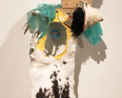 Sommer Roman, <em>Private Logic</em>, 2014, Animal pelt, latex gloves, wood, discarded clothing, pillows, hair roller, mirror, 15 x 31 in., Courtesy the Artist