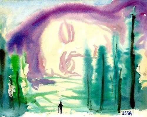 Zachary Cahill, USSADREAM, 2014, 9 x 12 in., Watercolor on paper, Courtesy the Artist