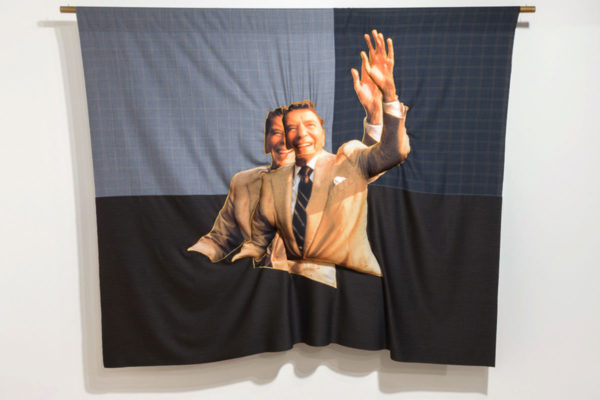 Bean Gilsdorf, DoubleDouble RR, 2015; wool and polyester; 87 x 66 in.