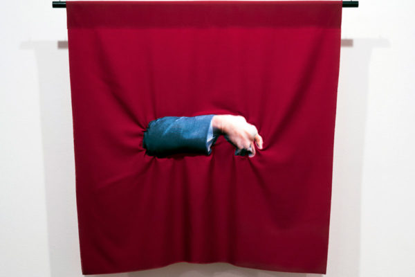 Bean Gilsdorf, Schwarzenegger, 2015; wool and polyester; 36 x 36 in.