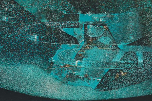 Efraín Recinos, Guatemala vista desde 33,000 Kilómetros de Altura (Guatemalita), 1960. (Detail). Oil on canvas, 47 x 168 in. (120 x 426 cm), Courtesy of the John Gody Collection, Guatemala City, Guatemala.