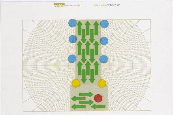 Silvestre Pestana, <em>Pauta</em>, 1975, Black and white photographic prints, vinyl stickers, letterset and colored paper on graph paper, 8.27 x 11.69 in, Collection The Serralves Foundation–Museum of Contemporary Art, Porto, PT. Photo: Filipe Braga © The Serralves Foundation