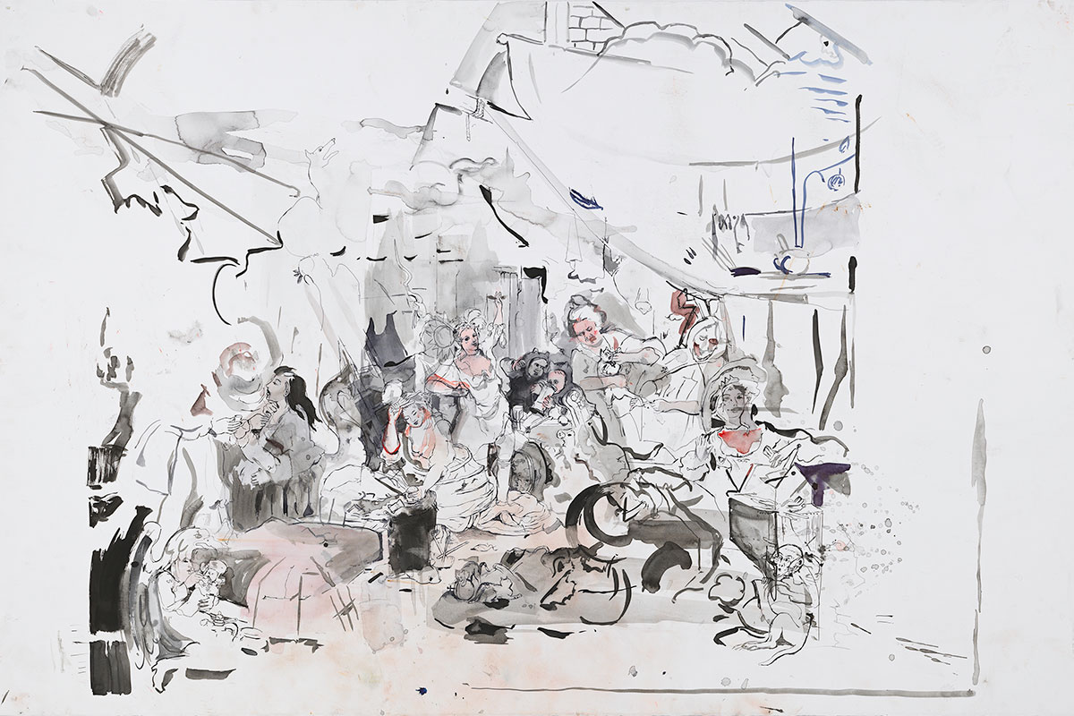 Cecily Brown, Strolling Actresses (After Hogarth), 2015