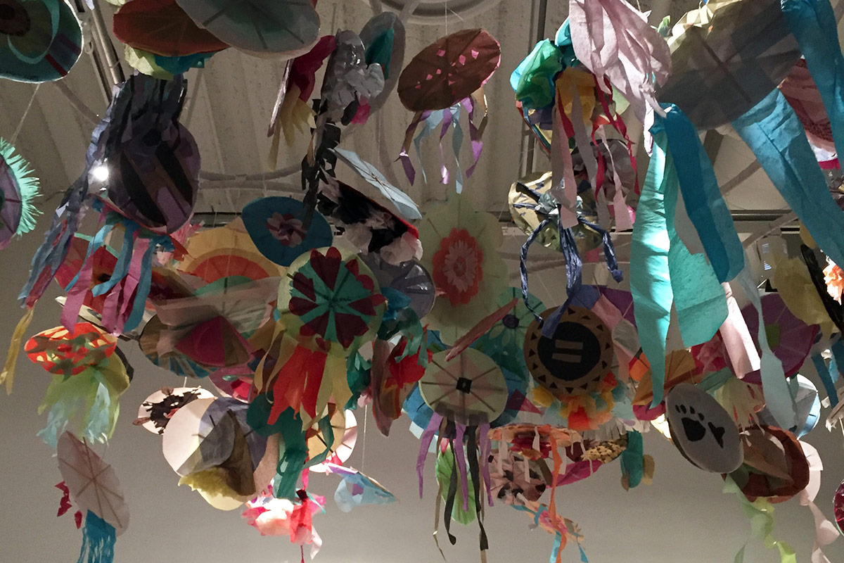 Kites hanging in the art lab