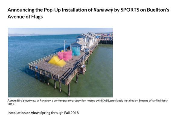 Spring 2018 Runaway Buellton Installation Press Release Image