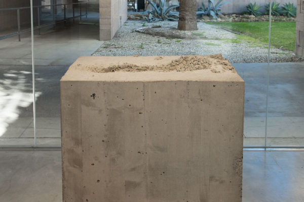 Lara Favaretto, <em>Fisting</em>, 2012, Concrete, iron, 39 1/8 x 17 1/4 x 29 1/4 in (99.4 x 43.8 x 74 cm), Glass Box Gallery, University California Santa Barbara, 2019, Courtesy MCASB, Photo: Brian Forrest.
