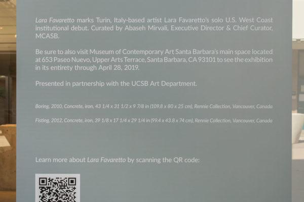 Lara Favaretto Intro Panel (UCSB Glass Box Gallery)