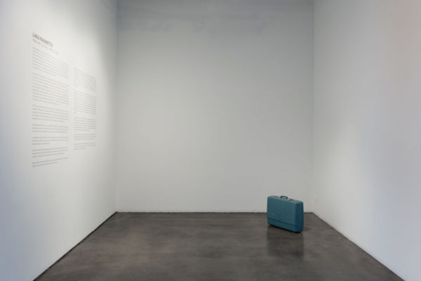 Lara Favaretto, <em>Lost & Found</em>, 1998, Suitcase, mixed media, 22 1/2 × 28 1/8 × 8 5/8 in (57 × 71.4 × 22 cm), Museum of Contemporary Art Santa Barbara, 2019, Courtesy MCASB, Photo: Brian Forrest.