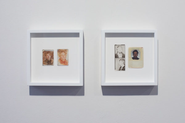 James Benning, <em>Sadie B 1985/1986</em>, 1990, Two photographs, 6 x 7 in., and James Benning, <em>Self 1967/1986</em>, 1990, Three photographs, 6 x 7 in., Museum of Contemporary Art Santa Barbara, 2019, Courtesy MCASB, Photo: Alex Blair.