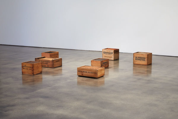 James Benning, <em>Wooden Boxes</em>, 2019, Dimensions variable, Museum of Contemporary Art Santa Barbara, 2019, Courtesy MCASB, Photo: Alex Blair.