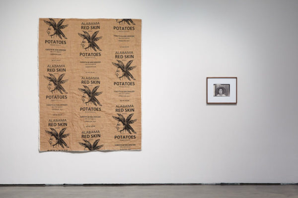 James Benning, <em>after Maggie Louise Gudger</em>, 2019, Hand-sewn quilt, 82 x 63 in., and James Benning, <em>after Evans (Lucille Burroughs)</em>, 2019, Photograph, 12 x 14 in, Museum of Contemporary Art Santa Barbara, 2019, Courtesy MCASB, Photo: Alex Blair.