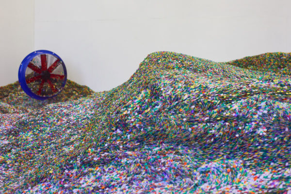 Lara Favaretto, <em>Tutti giù per terra / We all fall down</em>, 2004, 1 ton of confetti joker lux, talcum powder, 4 hermetic stage ventilators, Installation dimensions variable, Museum of Contemporary Art Santa Barbara, 2019, Courtesy MCASB, Photo: Alex Blair.