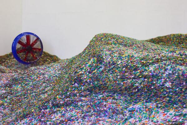 Lara Favaretto, Tutti giù per terra / We all fall down, 2004, 1 ton of confetti joker lux, talcum powder, 4 hermetic stage ventilators, Installation dimensions variable, Photo Courtesy Alex Blair © 2019
