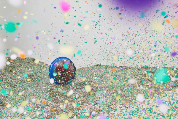 Lara Favaretto, <em>Tutti giù per terra / We all fall down</em>, 2004, 1 ton of confetti joker lux, talcum powder, 4 hermetic stage ventilators, Installation dimensions variable, Photo Courtesy Alex Blair © 2019