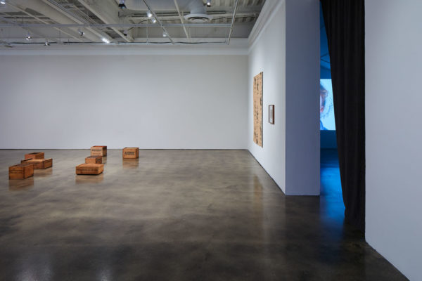 <em>James Benning: Quilts, Cigarettes & Dirt (Portraits of America)</em>, Installation View, Museum of Contemporary Art Santa Barbara, 2019, Courtesy MCASB, Photo: Alex Blair.