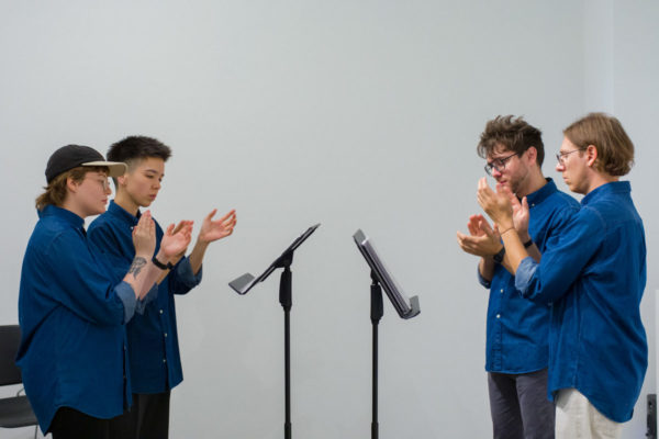Steve Reich, <em>Clapping Music</em>, 1972, Kunsthalle for Music, Museum of Contemporary Art Santa Barbara, 2019, Courtesy MCASB, Photo: Alex Blair.