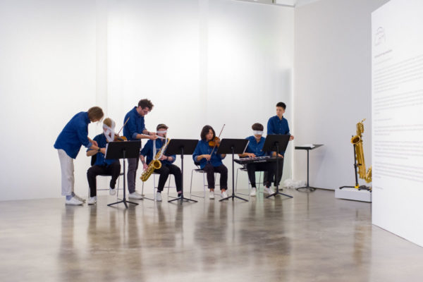 Philip Glass, <em>Two Pages</em>, 1968, and Yoko Ono, <em>Sky Piece to Jesus Christ</em>, 1965/2017, Kunsthalle for Music, Museum of Contemporary Art Santa Barbara, 2019, Courtesy MCASB, Photo: Alex Blair.